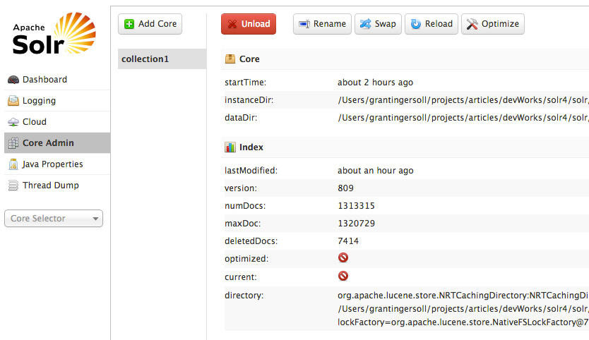 Screen capture of the core Solr admin UI