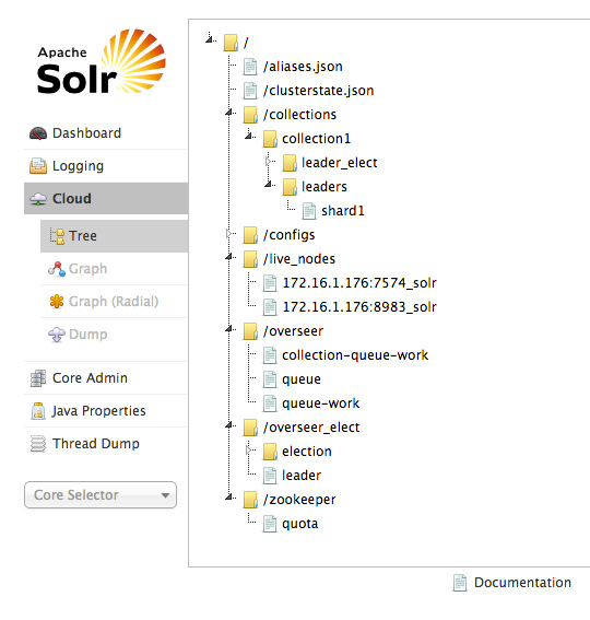 Screen capture of a SolrCloud UI example